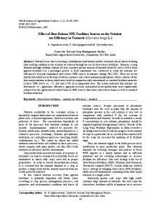 Effect of Slow Release NPK Fertilizer Sources on the Nutrient use Efficiency in Turmeric (Curcuma longa L.)