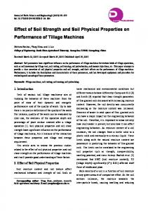 Effect of Soil Strength and Soil Physical Properties on Performance of Tillage Machines