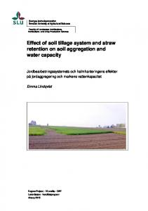 Effect of soil tillage system and straw retention on soil aggregation and water capacity
