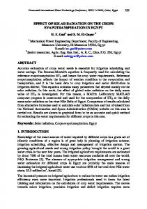 EFFECT OF SOLAR RADIATION ON THE CROPS EVAPOTRANSPIRATION IN EGYPT