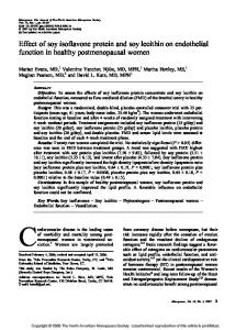 Effect of soy isoflavone protein and soy lecithin on endothelial function in healthy postmenopausal women