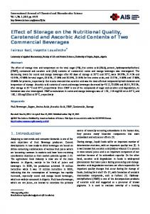 Effect of Storage on the Nutritional Quality, Carotenoid and Ascorbic Acid Contents of Two Commercial Beverages