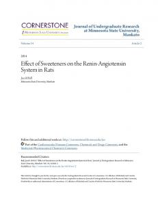 Effect of Sweeteners on the Renin-Angiotensin System in Rats