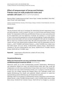Effect of temperament of Jersey and Holstein Friesian cows on milk production traits and somatic cell count (Short Communication)