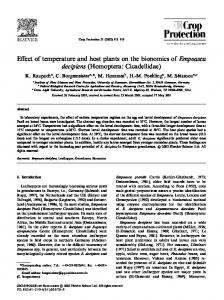 Effect of temperature and host plants on the bionomics of Empoasca decipiens (Homoptera: Cicadellidae)