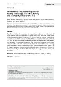 Effect of time, amount and frequency of feeding on total egg production, fertility and hatchability in broiler breeders