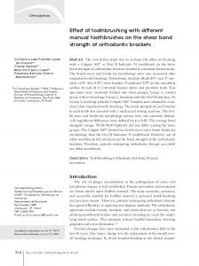 Effect of toothbrushing with different manual toothbrushes on the shear bond strength of orthodontic brackets