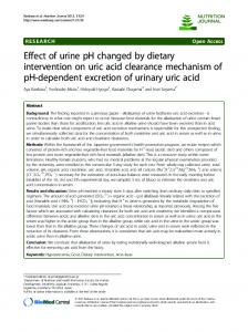 Effect of urine ph changed by dietary intervention on uric acid clearance mechanism of ph-dependent excretion of urinary uric acid