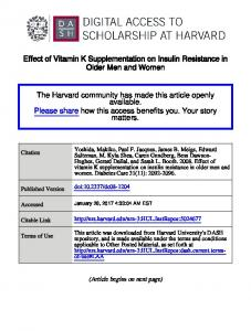 Effect of Vitamin K Supplementation on Insulin Resistance in Older Men and Women