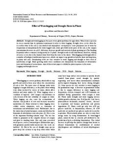 Effect of Waterlogging and Drought Stress in Plants