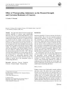Effect of Waterproofing Admixtures on the Flexural Strength and Corrosion Resistance of Concrete