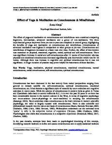 Effect of Yoga & Meditation on Consciousness & Mindfulness