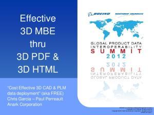 Effective 3D MBE thru 3D PDF & 3D HTML