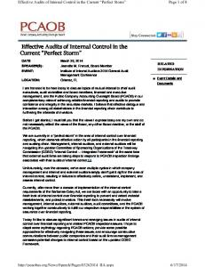 Effective Audits of Internal Control in the Current Perfect Storm
