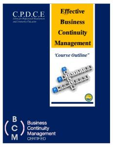 Effective Business Continuity Management. Course Outline