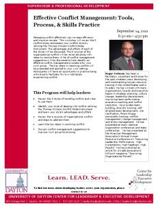 Effective Conflict Management: Tools, Process, & Skills Practice. Learn. LEAD. Serve