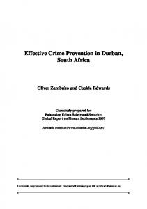 Effective Crime Prevention in Durban, South Africa