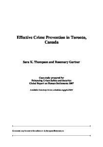 Effective Crime Prevention in Toronto, Canada