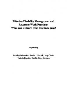Effective Disability Management and Return to Work Practices: What can we learn from low back pain?