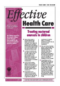 Effective. Health Care. Treating nocturnal. enuresis in children