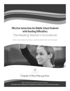 Effective Instruction for Middle School Students with Reading Difficulties: The Reading Teacher s Sourcebook