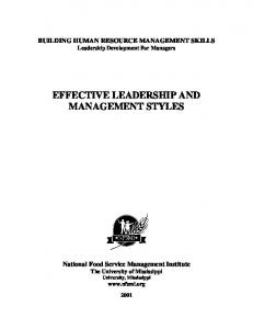 EFFECTIVE LEADERSHIP AND MANAGEMENT STYLES