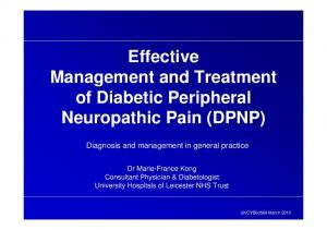 Effective Management and Treatment of Diabetic Peripheral Neuropathic Pain (DPNP)