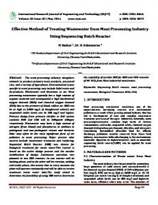 Effective Method of Treating Wastewater from Meat Processing Industry Using Sequencing Batch Reactor