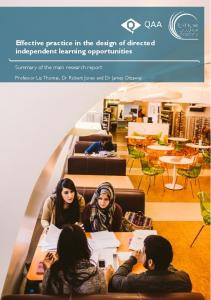 Effective practice in the design of directed independent learning opportunities