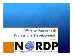 Effective Practices & Professional Development. May 2013