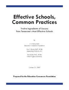 Effective Schools, Common Practices