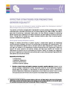 EFFECTIVE STRATEGIES FOR PROMOTING GENDER EQUALITY 1