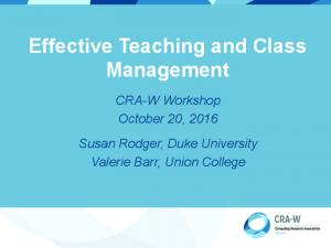 Effective Teaching and Class Management