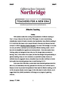 Effective Teaching. January 17 th,