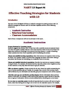 Effective Teaching Strategies for Students with LD