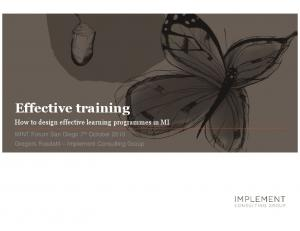 Effective training. How to design effective learning programmes in MI