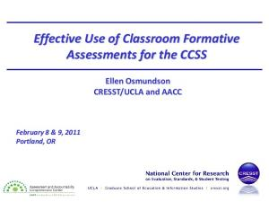 Effective Use of Classroom Formative Assessments for the CCSS