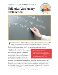 Effective Vocabulary Instruction