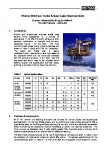 Effective Welding of Duplex & Superduplex Stainless Steels
