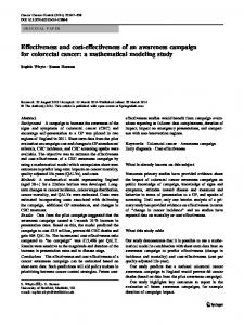 Effectiveness and cost-effectiveness of an awareness campaign for colorectal cancer: a mathematical modeling study