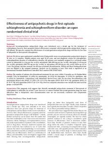 Effectiveness of antipsychotic drugs in first-episode schizophrenia and schizophreniform disorder: an open randomised clinical trial