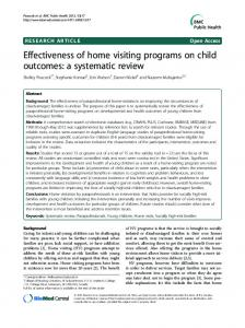 Effectiveness of home visiting programs on child outcomes: a systematic review