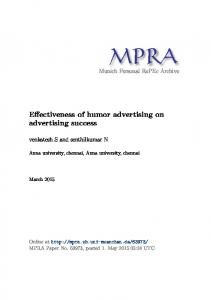 Effectiveness of humor advertising on advertising success