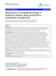 Effectiveness of occupational therapy in Parkinson s disease: study protocol for a randomized controlled trial