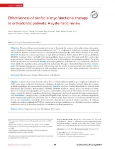 Effectiveness of orofacial myofunctional therapy in orthodontic patients: A systematic review