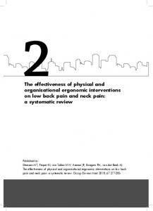 effectiveness of physical and organisational ergonomic interventions on low back pain and neck pain: a systematic review