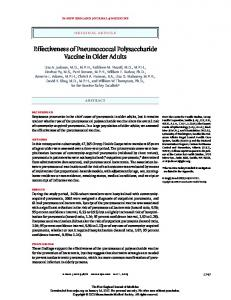 Effectiveness of Pneumococcal Polysaccharide Vaccine in Older Adults