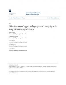 Effectiveness of 'signs and symptoms' campaigns for lun g cancer: a rapid review