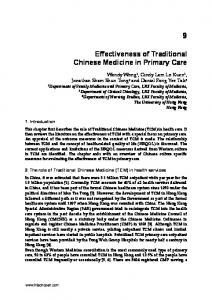 Effectiveness of Traditional Chinese Medicine in Primary Care