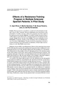 Effects of a Resistance Training Program in Multiple Sclerosis Spanish Patients: A Pilot Study